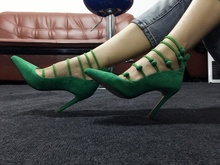 Pointed Toe Button Stripped Stiletto Pumps Shallow Thin High Heel Decor Narrow Bandage Sexy Feminine New Arrivals Shoes