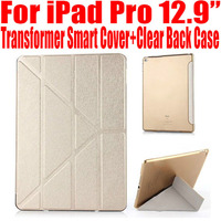 For Apple IPad PRO Magnetic Transformer Smart Cover Plastic Clear Back Case Slim PU Leather Case