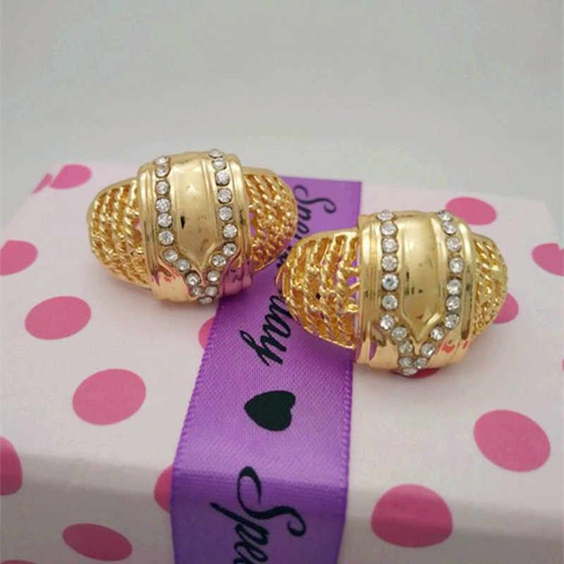 ממלכת Ma סט תכשיטים בצבע זהב אתני לכלות חתונה אפריקאית חדשה חיקוי קריסטל שרשרת צמיד עגילי טבעת סטים