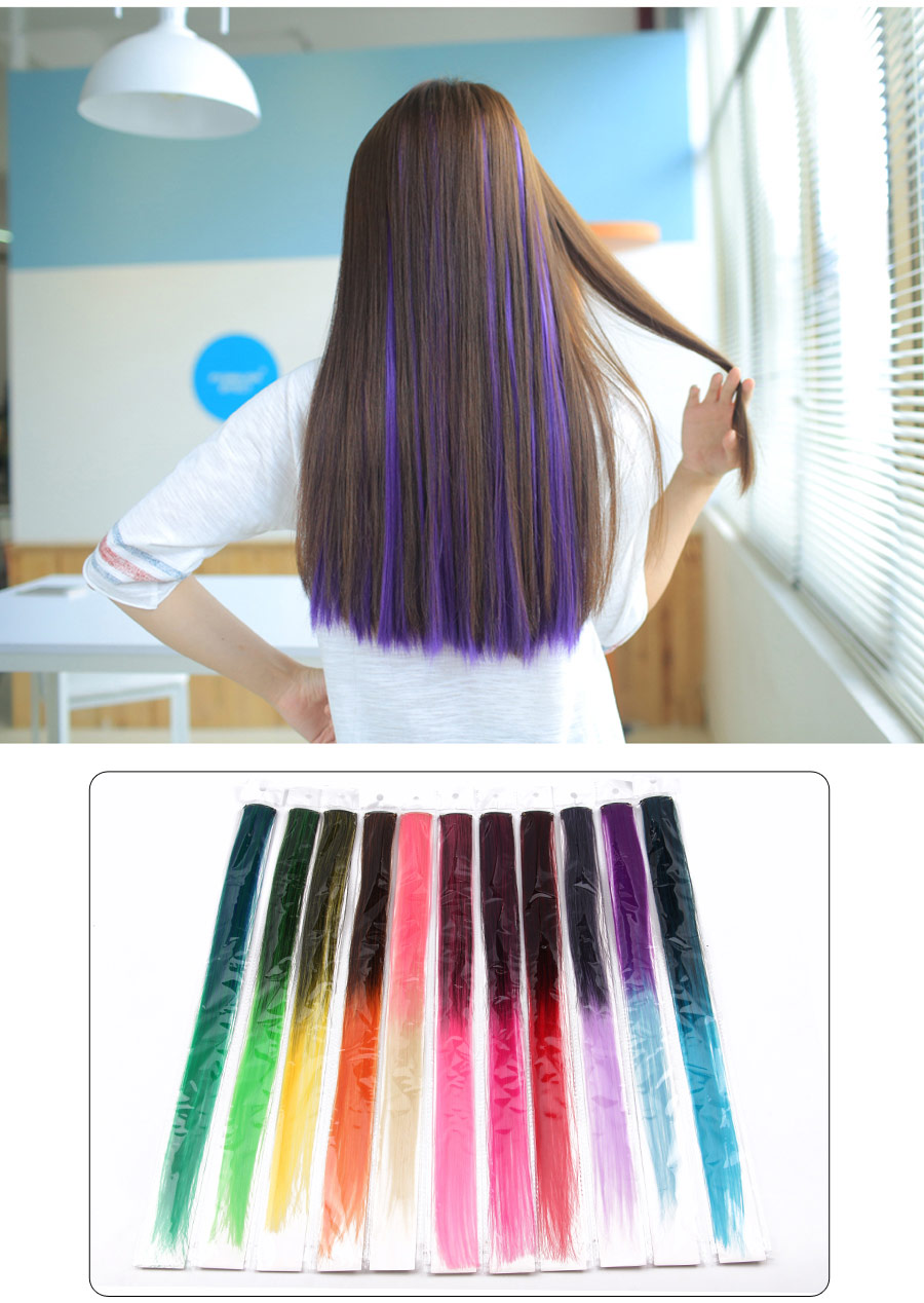 HTB1T1FrX4DBK1JjSZFlq6ApCVXad - AliLeader Made 57 Colors 50CM Single Clip In One Piece Hair Extensions Synthetic Long Straight Ombre Grey Red Rainbow Hair Piece