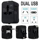 Wall Plug Power World Universal Travel Adapter With Dual USB Convertor Wall Plug Power