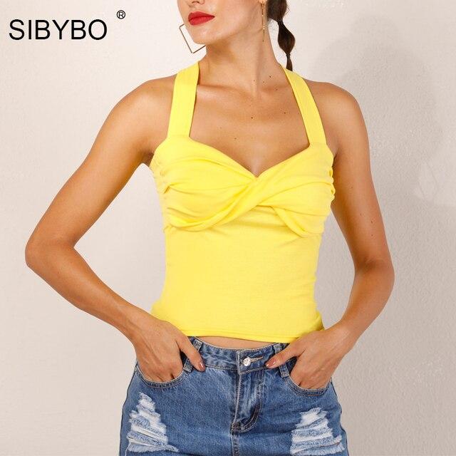 9b062622b2d20c SIBYBO Sexy Cross Bandage Top Summer Women Crops Tops 2018 White Tank Top  Streetwear Slim Party Club Lady Camis Vest