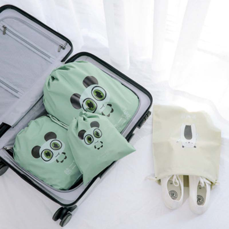 Bear Rabbit Animals Pattern Handmade Cotton Linen Storage Package Bag Drawstring Bag Travel Women Small Cloth Bag pouch 1PC