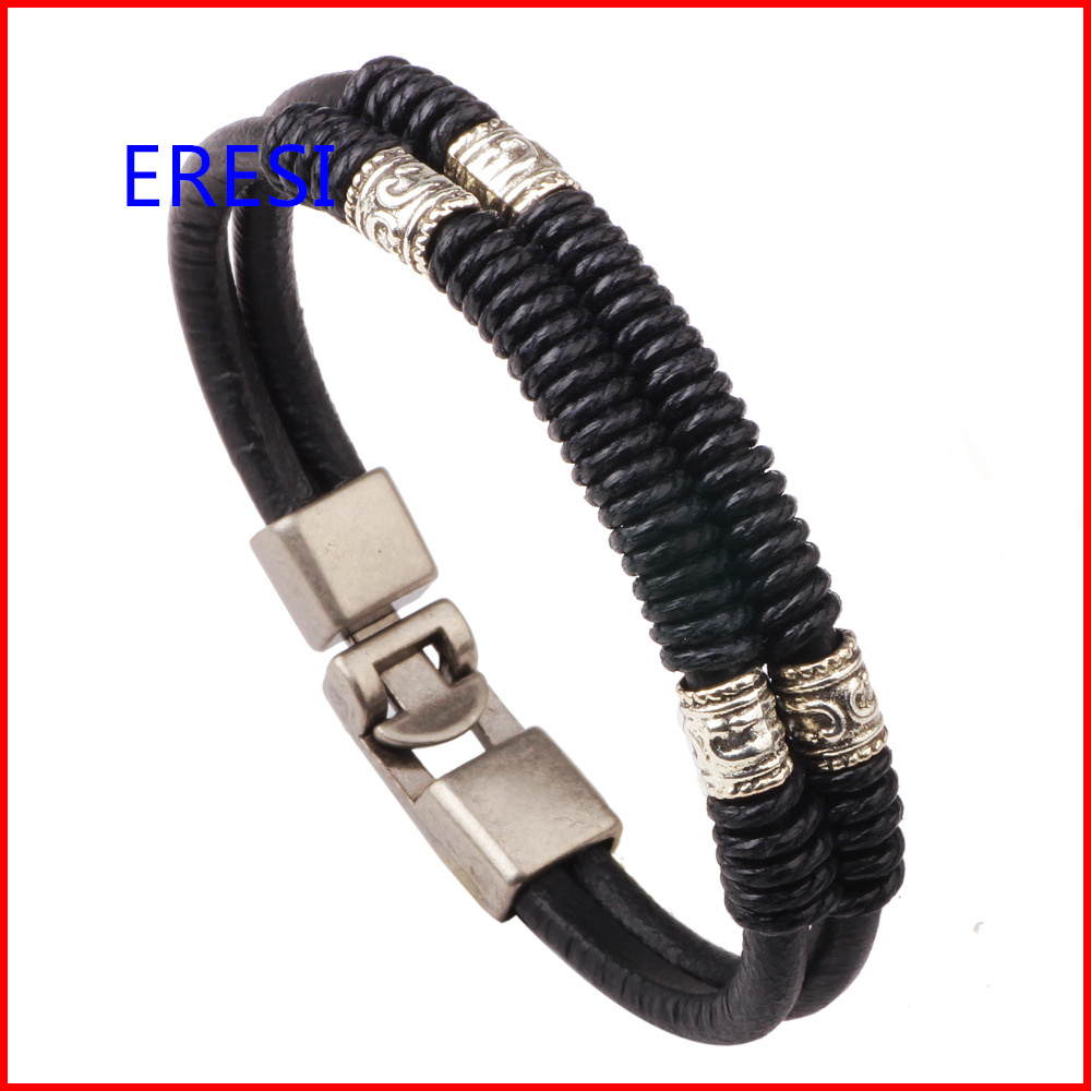 Wholesale Europe Vintage Leather Cuff Bracelet In Two Colors Stocks Selling  Cheap Men's Leather Jewelry(