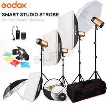 Godox 250SDI 4 x 250W Studio Flash Light stand with Carry Bag Soft Box 1000Ws kit 110V-240V