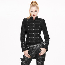 Devil Fashion Punk Vintage Military Uniform Jackets for Women Gothic Black Long Sleeve Stand Collar Coats