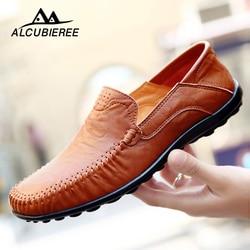Sapatos de condução Dos Homens Handmade Genuína Mocassim De Couro Preto Sapatos Casuais Mocassins De Couro Homens Sapatos de Alta Qualidade 2019 Tamanho Grande