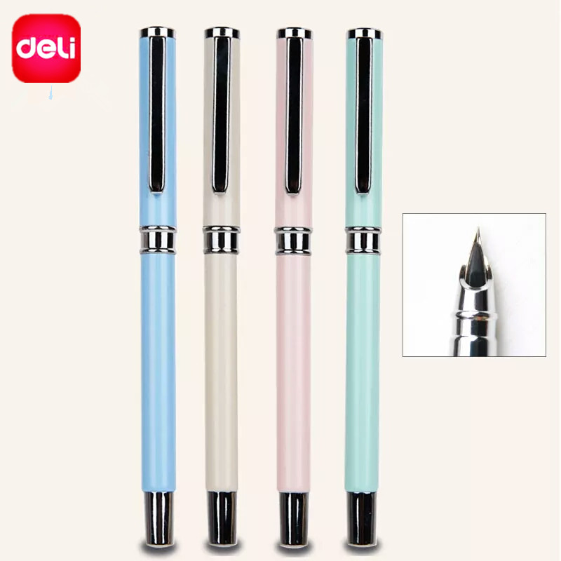 Deli Metal Fountain Pen Elegant Pen For Business Writing High Quality Ink Fountain Pen School Chancery  ffice Stationery Supply