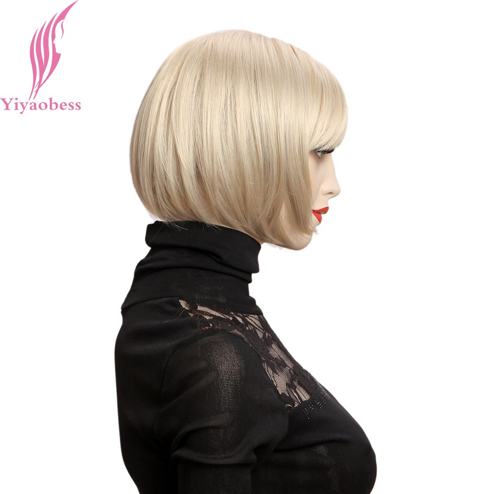 Yiyaobess 10inch Blond Paryk Med Bangs Syntetisk Natural Hair - Syntetiskt hår - Foto 4
