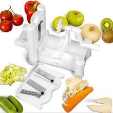 1/Set New and Essential Tri-Blade Vegetable Slicer Spiralizer Cutter Mandoline Chopper cooking tools kitchen knife free shipping