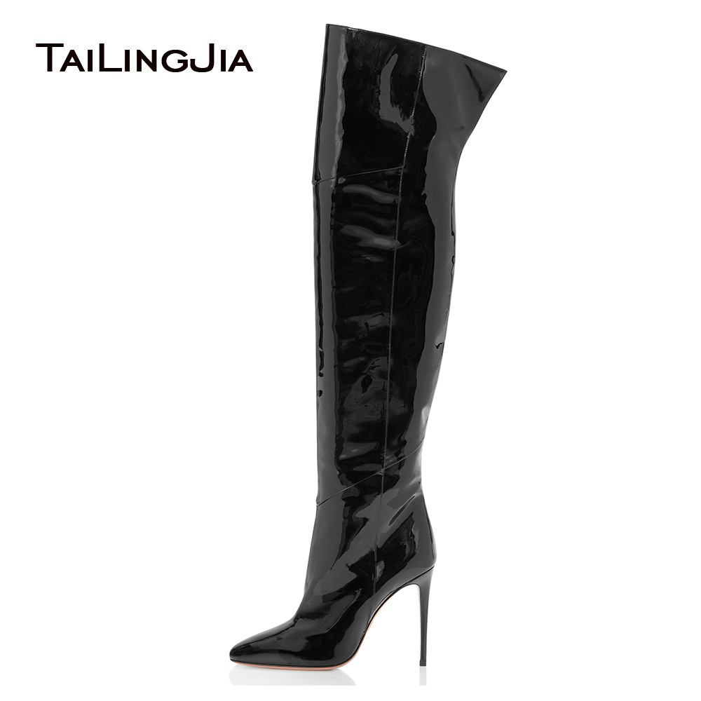 Women High Heel Pointed Toe Black Patent Leather Over The Knee High Boots Pink Pointy Long Boots Ladies Winter Heels PU Shoes siemens lc 97be532