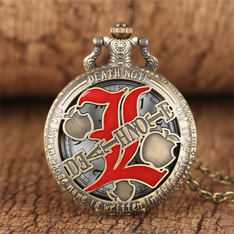 Death Note Necklace Red Double L Pendant Watches Men Women Japan Anime Quartz Pocket Watch Cool Halloween Accessories Gifts Bag