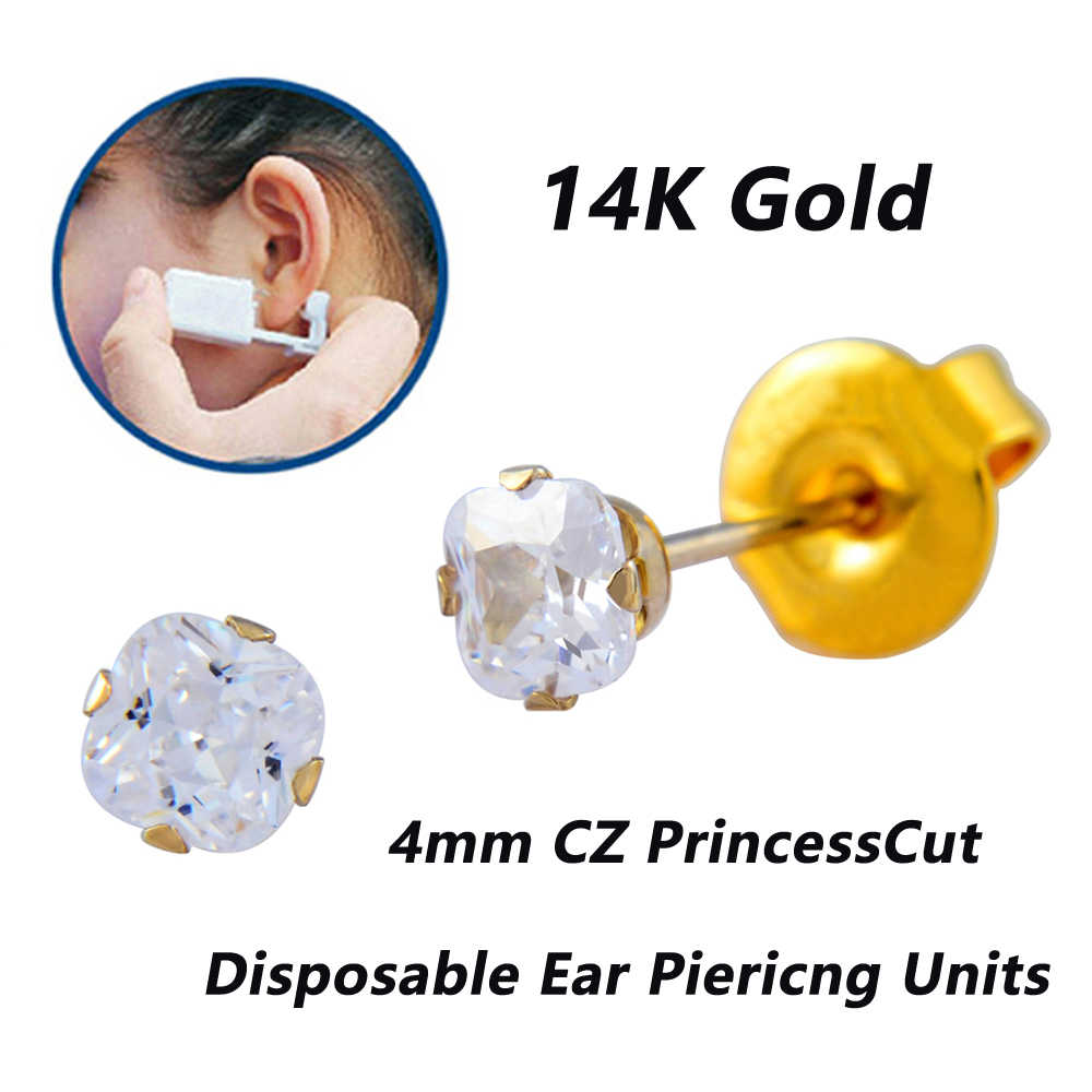 Real Solid Yellow Gold Stud Earrings Disposable Ear Piercing Units Piercing  Gun Tool Kit No Cross-Infection For Sensitive Ears