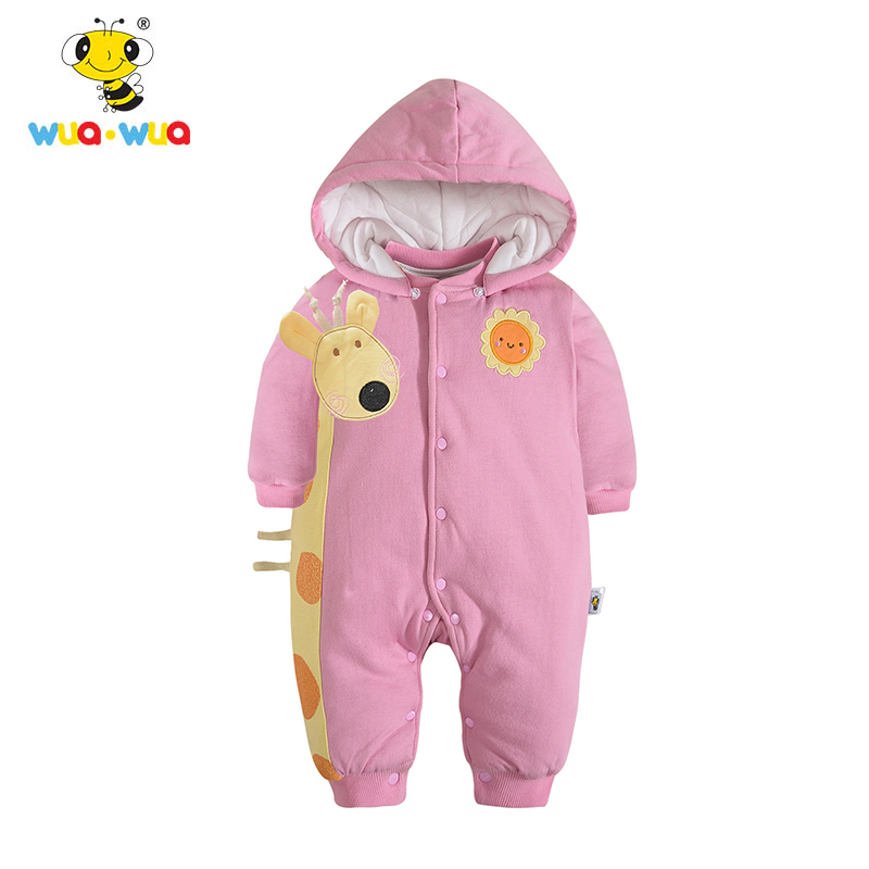 Wua Wua Infant Winter Bodaysuit Cotton Hooded One Pieces Clothes Cartoon Cute Baby Boys Girls Jumpsuit Thicken Newborn Bodysuit 0 12months autumn winter baby costume infant clothes girls boys romper warm cartoon cute hooded jumpsuit newborn clothing bc1372