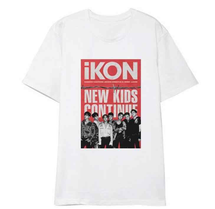 Summer style ikon new kids continue album same photo member names printing  o neck short 64b46382cc99