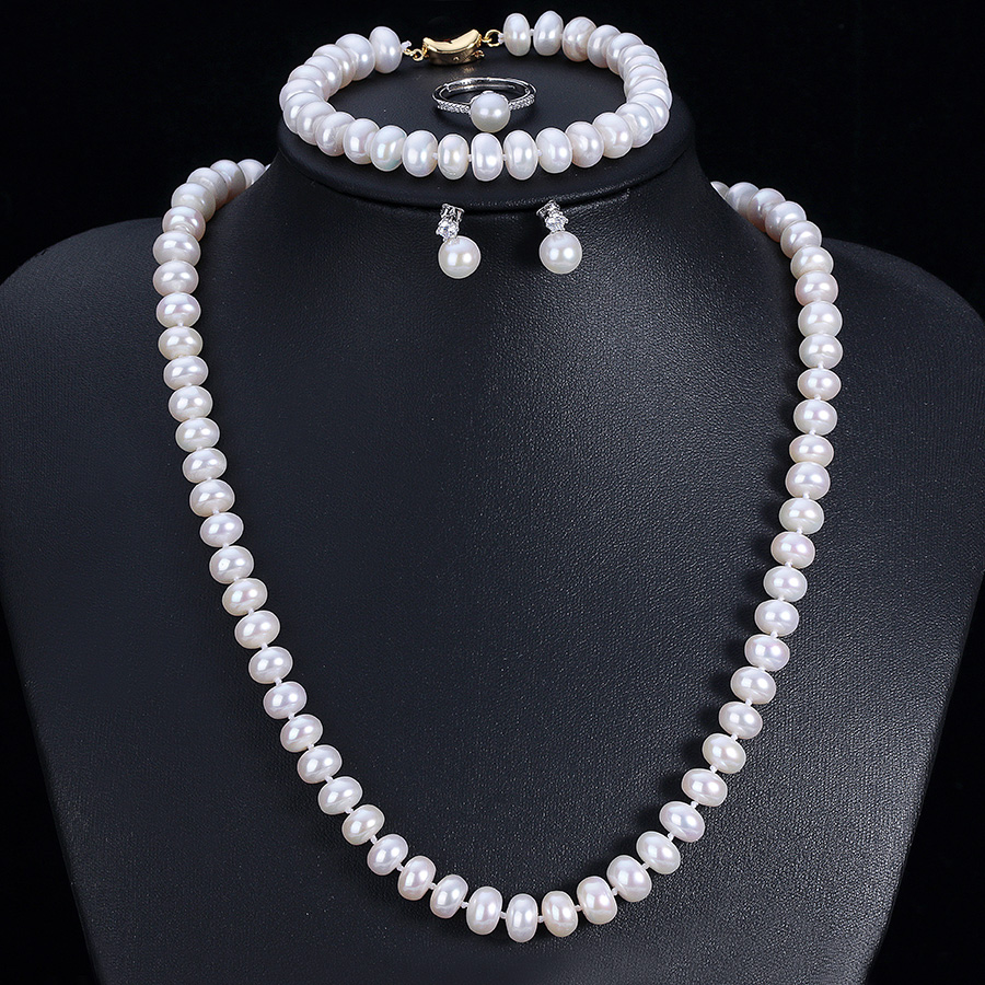Good Quality Real Natural Freshwater Pearl Jewelry Sets For Women 4 Pieces Gold Color White Pink