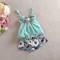 2015 nova primavera verão babys meninas Princesa Das Crianças de dois conjuntos de peças de Roupas & Sets flor rendas Camisetas + shorts navio livre