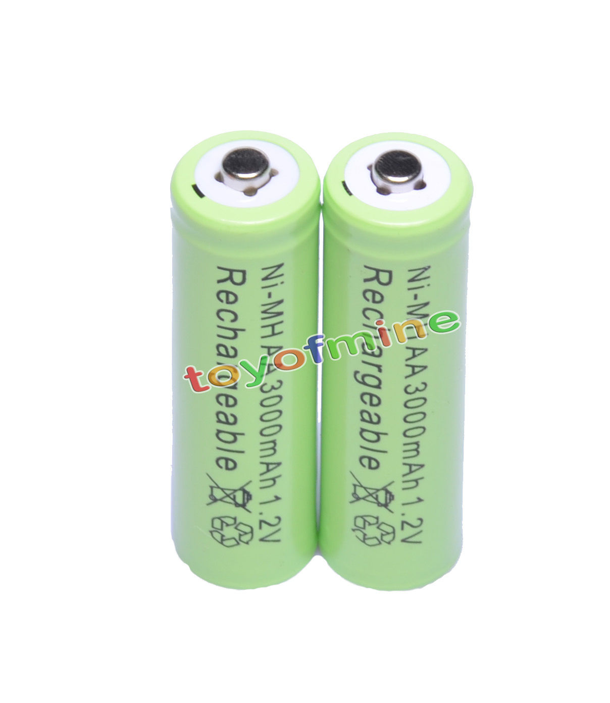 2xAA 3000mAh 1.2V batteries Bulk Nickel Hydride Rechargeable NI-MH Green