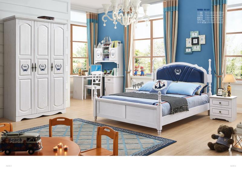 JLMF819 Ash solid wood children bedroom furniture set health Environmentally friendly children bed wardrobe desk bedside table