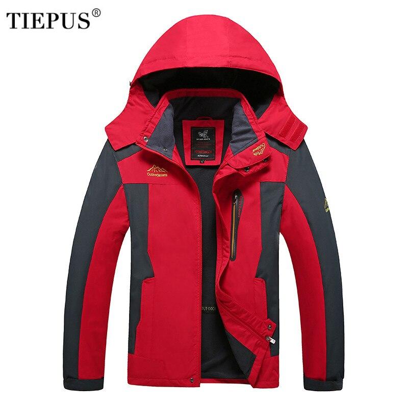 TIEPUS winter new hooded jacket men's plus velvet warm and windproof waterproof large size parka men 4XL 5XL 6XL 7XL 8XL мужские шорты 4color 4xl 5xl 6xl 7xl 8xl bc217
