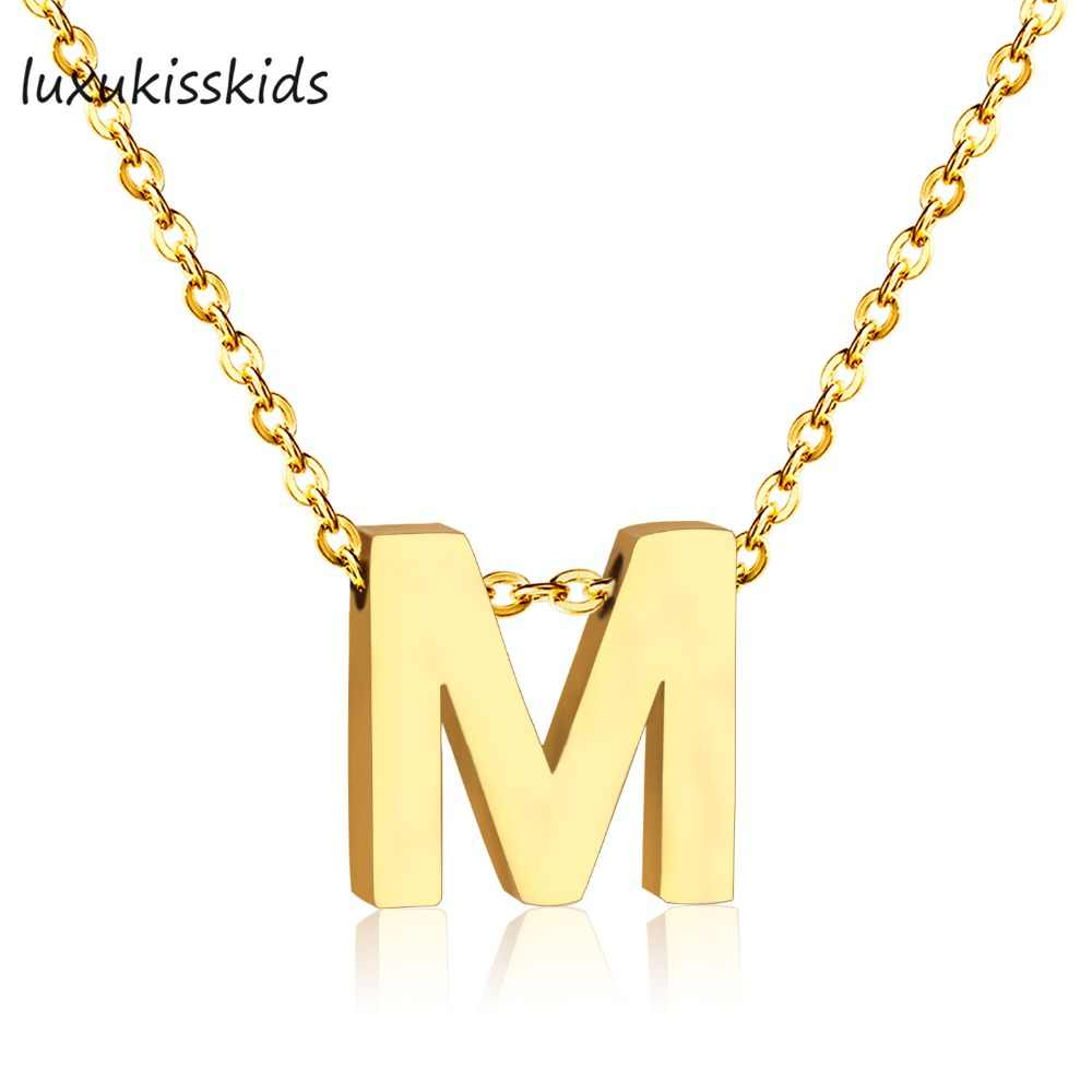 LUXUKISSKIDS Gold Color Letter Necklace for Women Stainless Steel Jewelry 26 Initial Necklace Alphabet Kolye Collier Necklaces
