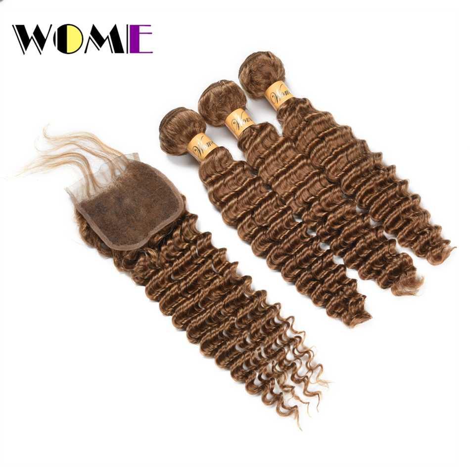 Wome #27 mongolski włosy mocno falowane w stylu brazylijskim 3 wiązki miód blond kolor włosów ludzkich włosów z zamknięciem nie Remy doczepy z kręconych włosów