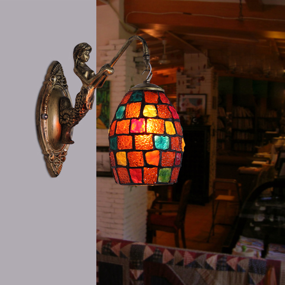 Mediterranean Style Decoration Turkish Mosaic LED Lamps Handmade Stained Glass Sconces Antique Wall Lights For Home