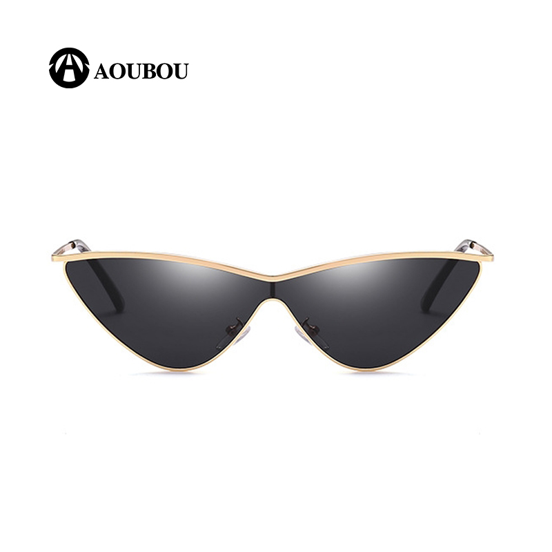 AOUBOU Brand Women  Sunglasses Reflection Bac Triangle Gradual Change Connected Together HD PC Lens Fashion  Alloy Frame  AB857 reflection