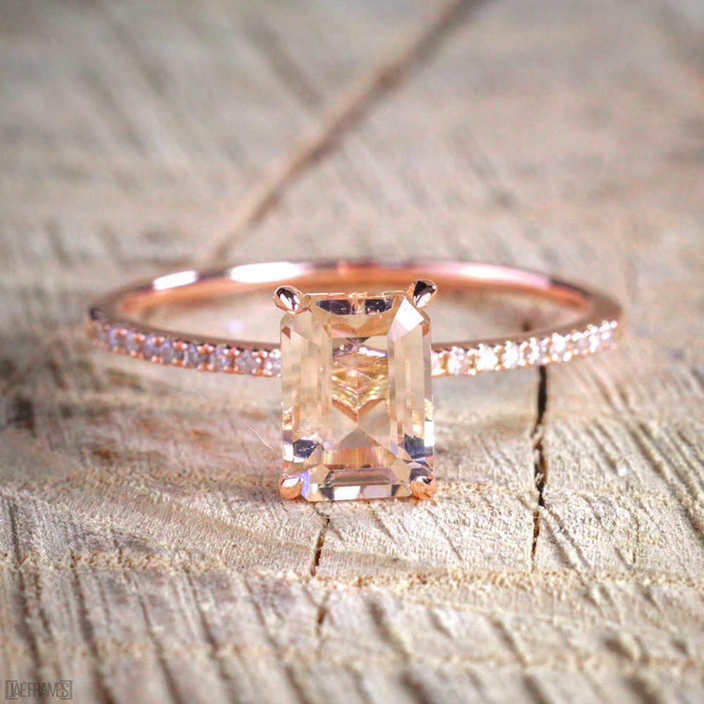 Женское квадратное кольцо набор Роскошная роза позолоченный Кристалл Циркон Обручальное кольцо обещание на помолвку кольца для женщин ювелирные изделия подарки