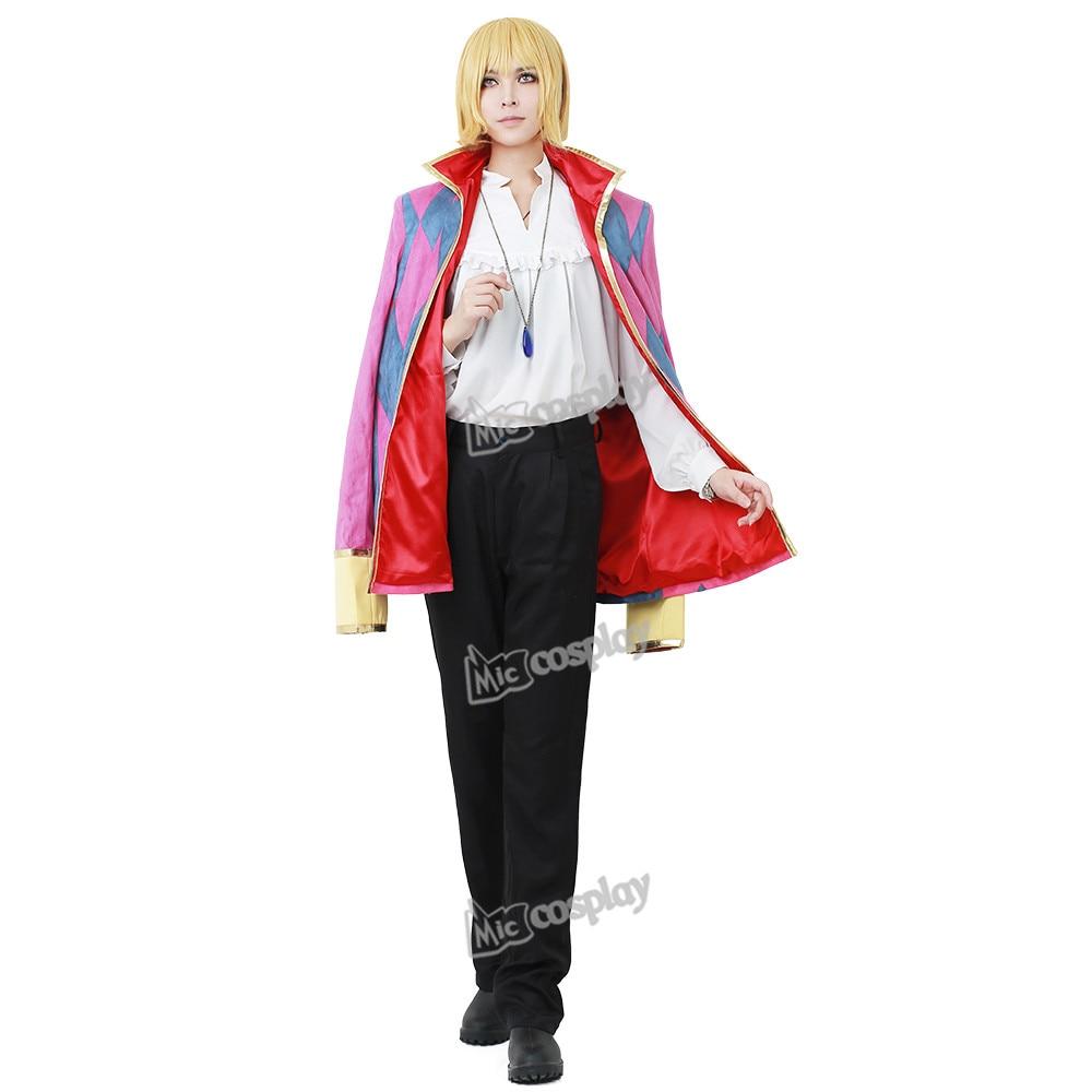 Howl Cosplay-puku, mukaan lukien korut kaulakoru Anime Miesten vaatteet