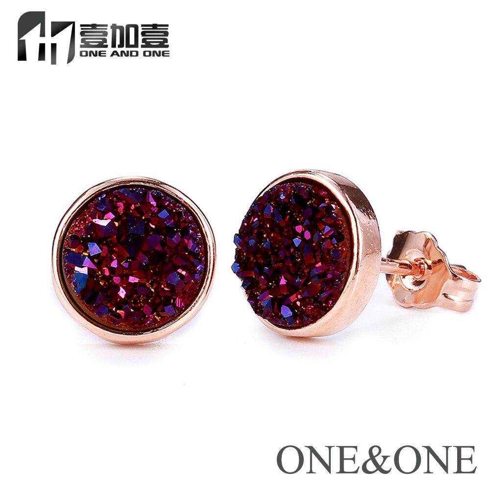 Hot výprodej kulaté 6mm druzy šperky přírodní drusy náušnice fialové kamenné opálové náušnice pro ženy / dívky doprava zdarma