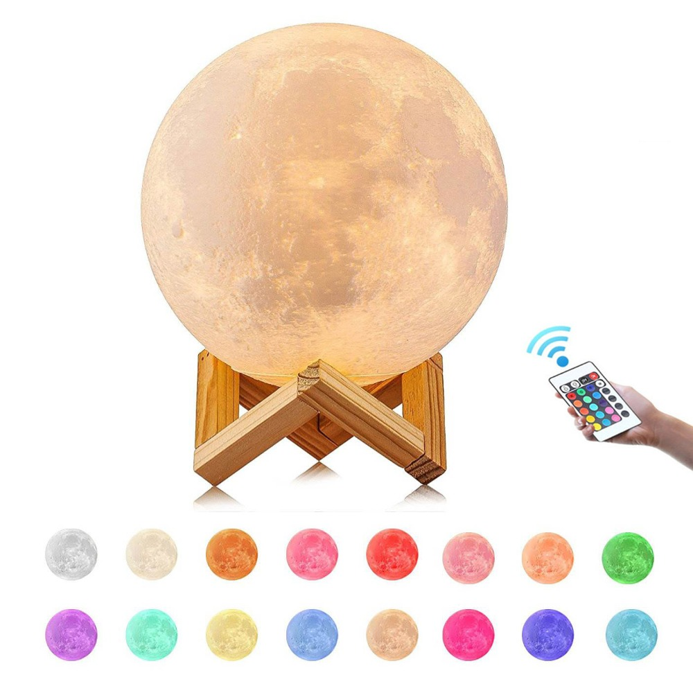 3D Print Moon Lamp Remote control night light 16 color Change 2018 Christmas lights baby new year gift Child room decoration