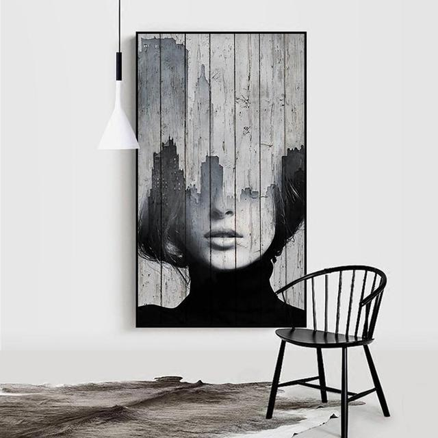 SURELIFE Abstract Fashion Figure Black and White Wall Art Prints Canvas Paintings Pictures Poster Gift Living Room Home Decor
