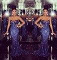 Royal Blue Largo Elegante 2016 Vestidos de Noche de La Sirena Vestidos Formales Para La Fiesta de Boda Comunión Más El Tamaño de Barrido Tren