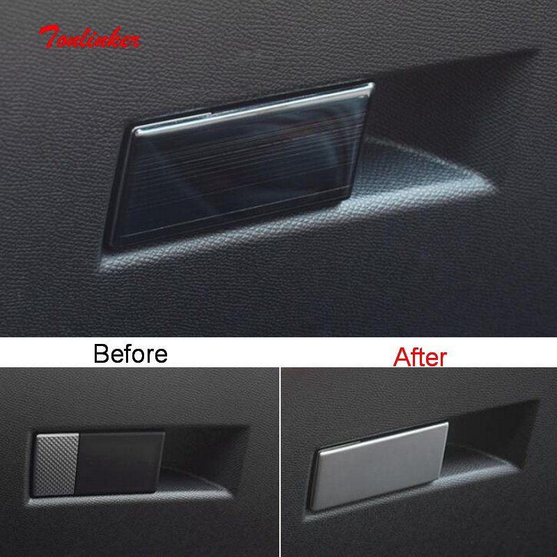 Tonlinker 1 PCS Car Gloves Box Handle Cover Sticker For CITROEN DEESSE DS7 2018-19 Car Styling Stainless Steel Cover Stickers