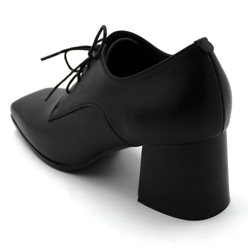 ENMAYER/весенние туфли на высоком каблуке Женская повседневная обувь на квадратном каблуке и платформе с квадратным носком однотонные женские туфли на шнуровке для свиданий - 6
