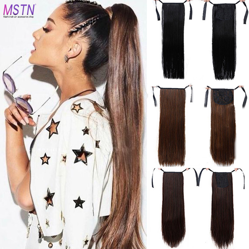 MSTN New super long strap clip women's wig black brown long straight hair ponytail extended   headwear