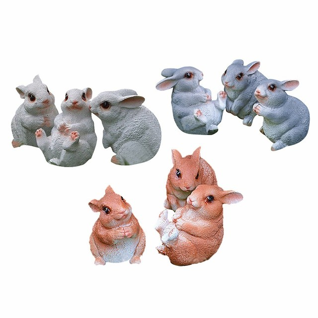 a1aef596537f0 US $14.1 33% OFF|3Pcs/Set Simulation Resin Animal Rabbit Bugs Bunny Animal  Sculptures Garden Ornaments Crafts Garden Sculpture For Home Garden -in ...