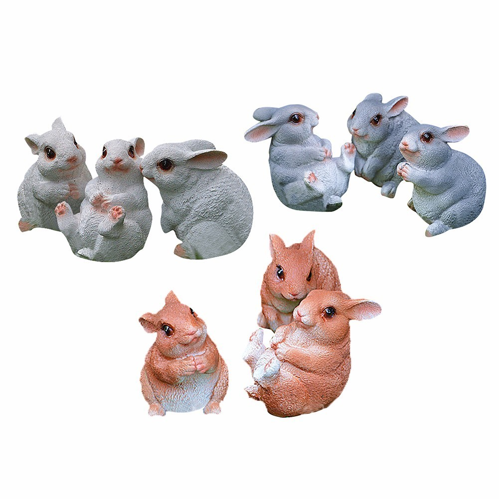 3Pcs/Set Simulation Resin Animal Rabbit Bugs Bunny Animal Sculptures Garden Ornaments Crafts Garden Sculpture For Home Garden