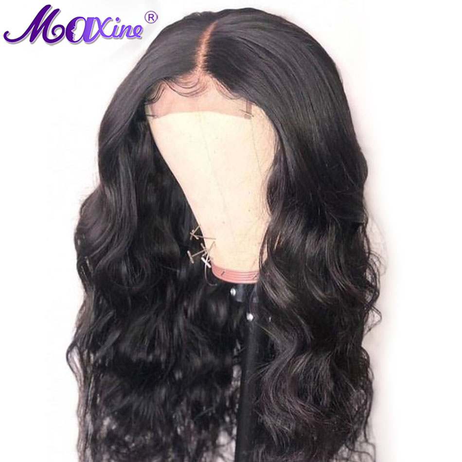 Peruvian 4x4 Closure Wig Body Wave Lace Front Wig Pre Plucked Bleached Knots Wigs For Black