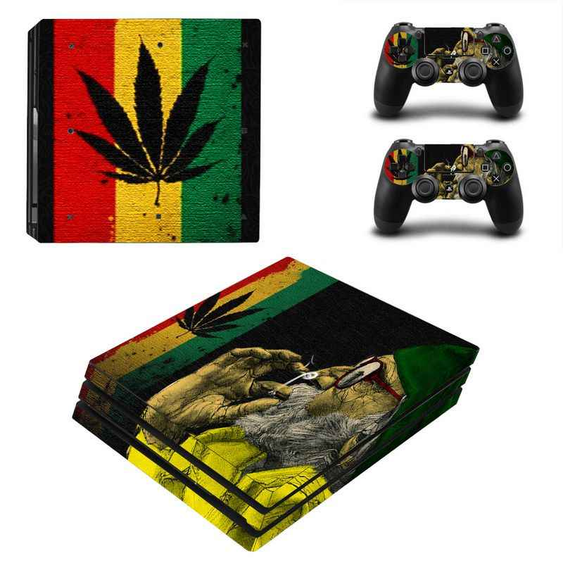 Green Leaf For PS4 Pro Vinyl Skin Sticker Cover Console & 2PCS Controller Skin Decal For Sony Playstation 4 Pro Game Accessories