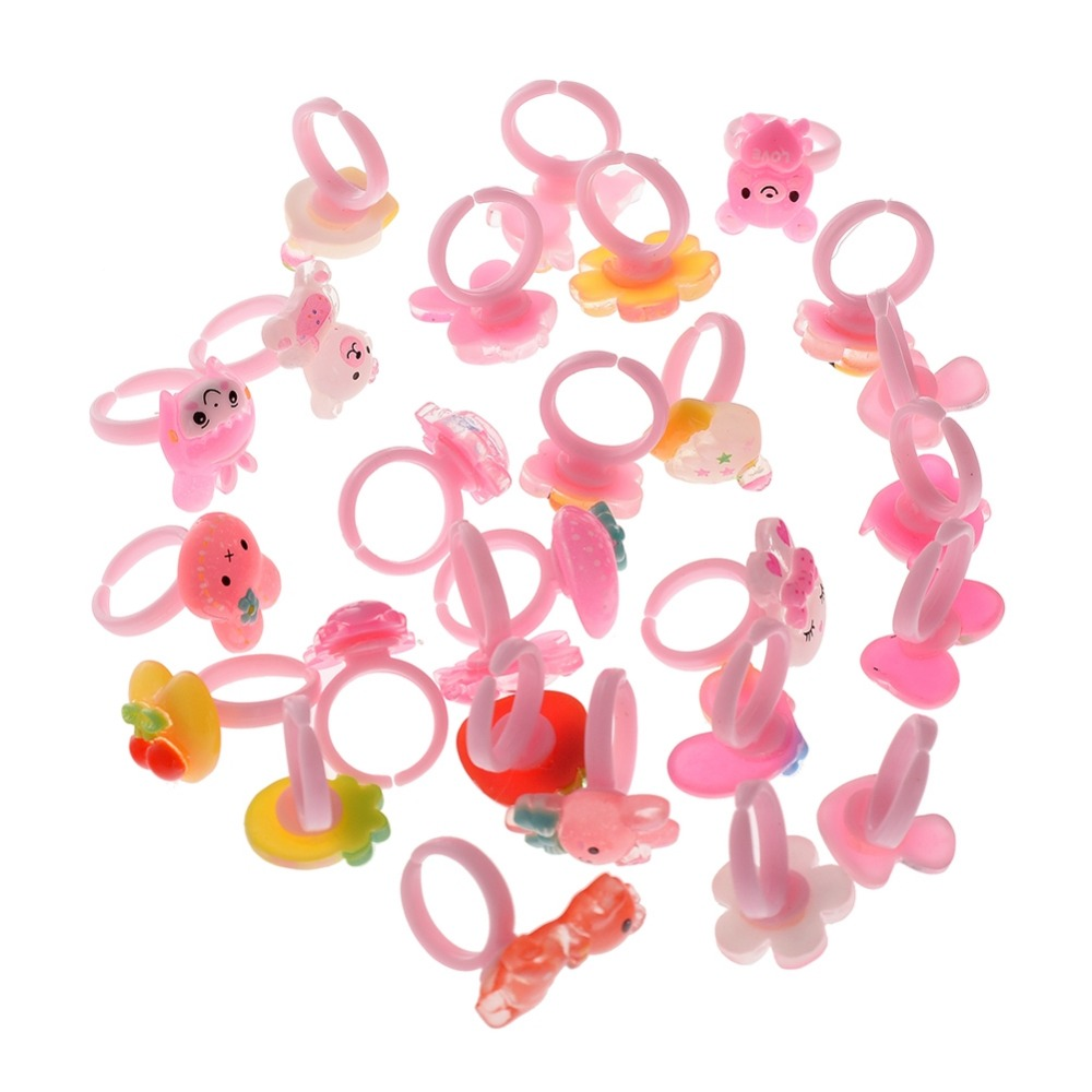New Arrival 100pcs Lovely Mix Plastic Cartoon Girls Kids Princess Children  Rings Wholesale Jewelry Christmas Gift