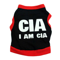 Black Cotton Dog Vest Summer Puppy Clothing I AM CIA Letters Pet Products Fit for Small Dogs Size XS-L