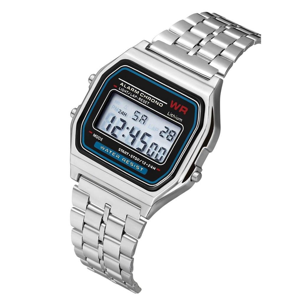 Дропшиппинг светодиодный цифровые парные часы мужские женские деловые часы ремешок из нержавеющей стали ультра тонкие наручные часы с будильником - Цвет: 1
