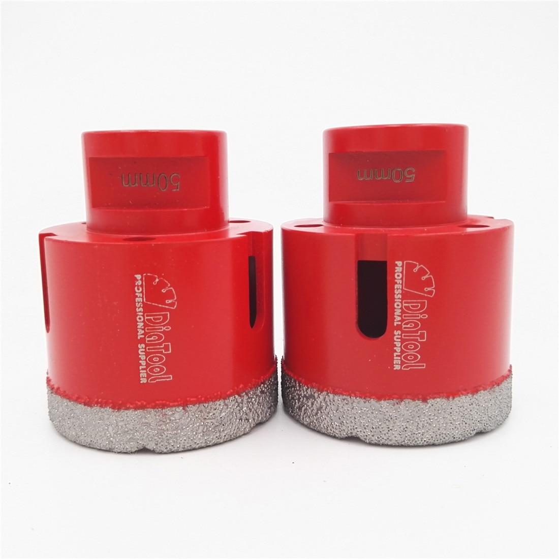 DIATOOL 2pcs M14 50mmX10mm Vacuum Brazed Diamond Drilling Core Bits Professional Quality Drilling Bits Diamond Drill Bit Crown цена