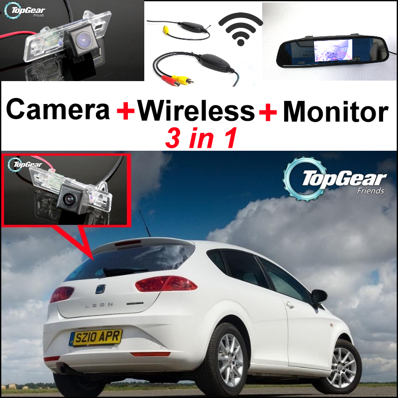 Фотография 3in1 Special WiFi Camera + Wireless Receiver + Mirror Screen Monitor Rear View BackUp Parking System For SEAT Leon MK2