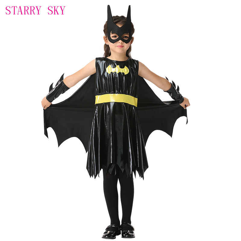 2018 New Style Girls Cute Gift Batman Costumes Halloween Kids Costume Dresses Gloves Blinders Carnical Cosplay Party Stage Show