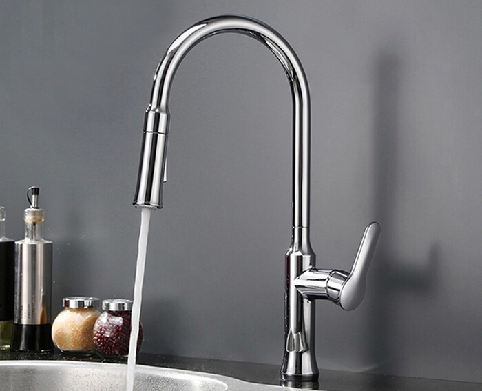 Free shipping Factory direct sale Kitchen Faucet With Hot Cold Switch pull out two Function shower