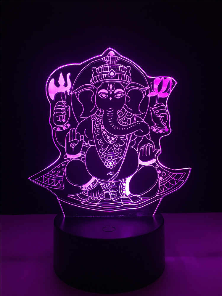 Luminaria Table Lamp Led Light Elephant Multicolor Touch Change Thailand Creative Gradient Remote Usb Desk Mood 3d Buddha Night 4jAL53R