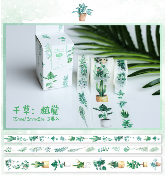 3 Pcs/pack Green Plants Decorative Adhesive Tape Masking Washi Tape DIY Scrapbooking Sticker Label Bullet Journal Stationery